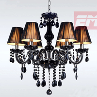 6 Heads Crystal Chandelier Light Fixtures Ceiling Lustre Para Quarto Black Led Crystal Chandelier For Living