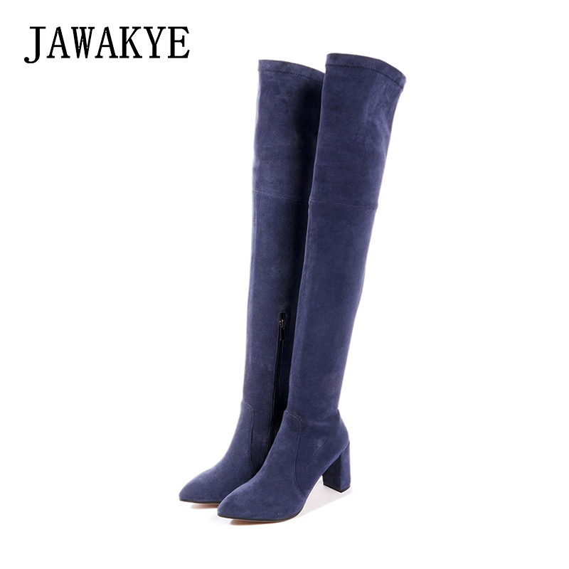 2018 Botas Femininas Winter Women Shoes Chunky high heel Thigh High Boots Pointy toe Suede Over the Knee Slim Elastic Long Boots knitted women high knee boots thigh high boots over the knee boots elastic slim autumn winter warm woman shoes botas feminina
