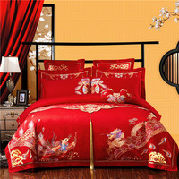 Red Luxury Golden Dragon Phoenix Embroidery 100% Cotton Bedding Set Wedding Duvet Cover Bed sheet Pillowcases Bed Flag 4/6/10pcs