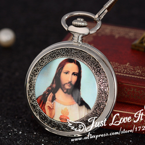 Jesus Christ taught religious style retro classic and The virgin Maria mechanical pocket watch gift