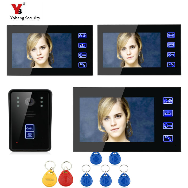 Yobang Security 7 inch touch keypad Video doorbell with RFID keyfobs Hands-free Video Intercom Video Door Camera Free shipping
