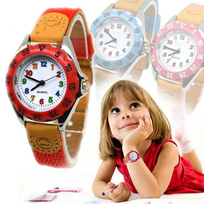 Cute Boys Girls Quartz Watch Kids Children's Fabric Strap Student Time Clock Wristwatch Gifts Colorful Number Dial Clock LL@17