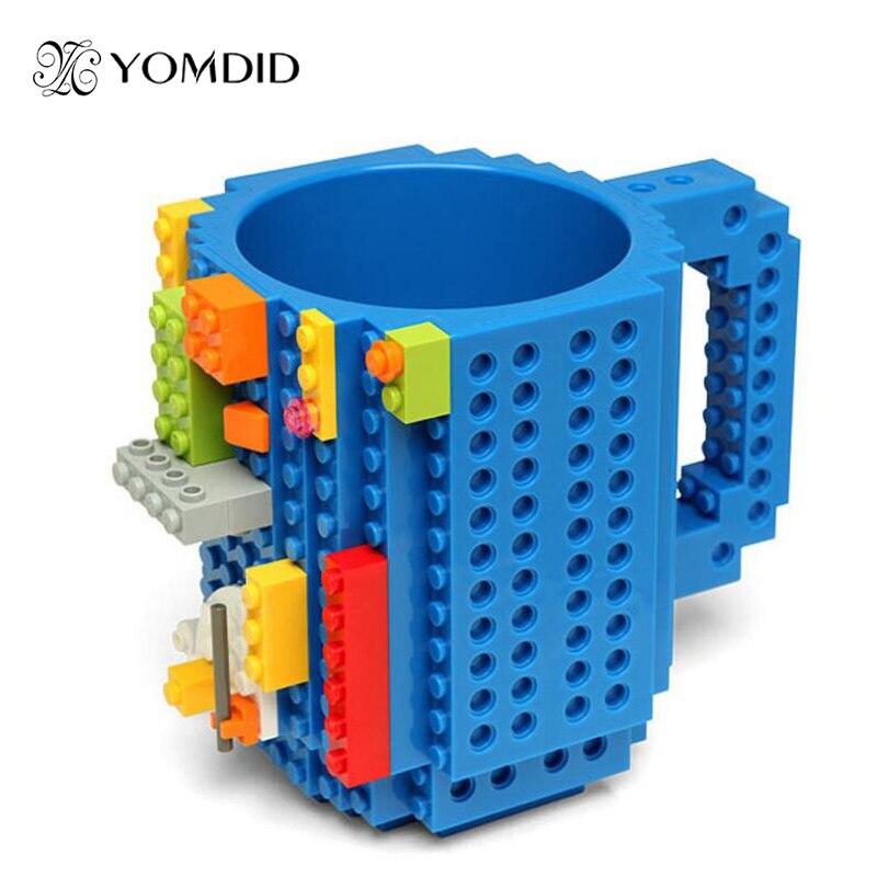 Taza de Ladrillo de construcción DIY bloques de abultamiento Tazas de café 350 ml creativo Drinkware BPA taza gratis regalos de cumpleaños Tazas
