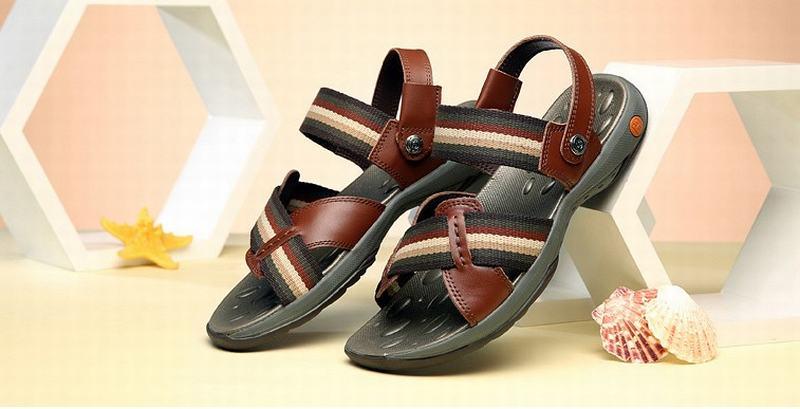 Top qualité véritable cuir de vache sandales homme mode été chaussures plage tongs homme gladiateur Sandalias pantoufles grand Size38-44 - 3