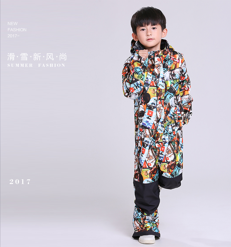 2017 boys waterproof jumpsuit for skiing skateboarding suit kids thermal skiing jackets and pants set boys one-piece ski suit