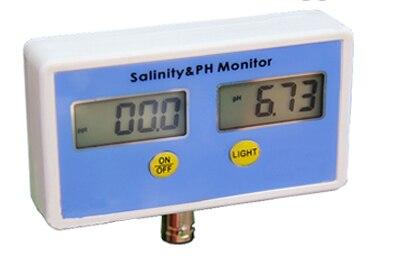 2 en 1 Aquarium pH salinité moniteur d'eau testeur salinomètre à sel PH: 0.00 ~ 14.00; salinité: 0 ~ 199.9ppt livraison gratuite