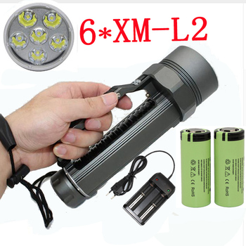 Diving Flashlight 6 x  XM-L2 7200LM Torch for diver underwater photograph explore hunting +26650 Battery +Charger