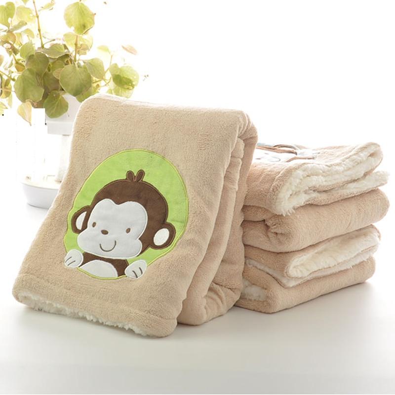 free shipping 100x75cm coral monkey secret manta fleece throws travel plaids - Fleece Throws