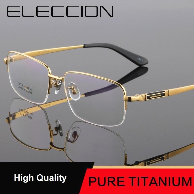 f3ac37745d ELECCION ultraligero Borde de titanio miopía gafas montura hombres grandes  medio marco gafas ópticas prescripción moda masculina