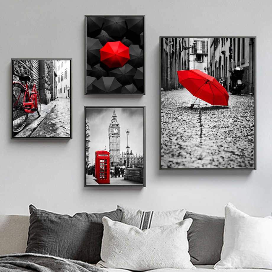 Wall Art Canvas Painting London City Umbrella Call Box Nordic Posters And Prints Wall Pictures For Living Room Salon