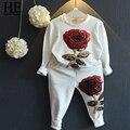 ÉL Hola Disfrutar de Muchachas Que Arropan 2016 Otoño embroma la ropa Rosas Florales Bordados Sequinsets Ropa Niños Establece familia
