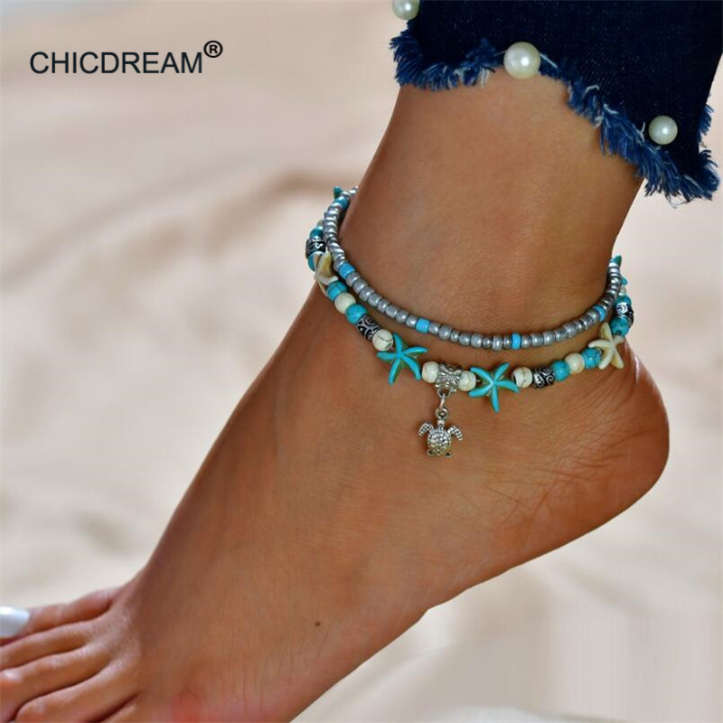 Multiple Tortoise Bead Charm Anklet For Women Vintage Boho Shell Chain Anklet Bracelet Beach Summer Holiday Accessories Jewelry