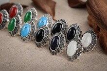 Luxury  Girls Earrings noble lady's handmade 925 Silver green red white gem Leverback Vintage stone gem jewelry EARRING