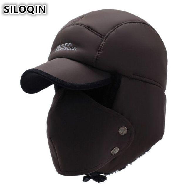 SILOQIN Winter Men s Earmuffs Caps Thicker Plus Velvet Bomber Hats For Men  Women Brands Mask Cap Women s Snow-proof Warm Ski Hat 4246056e3caf