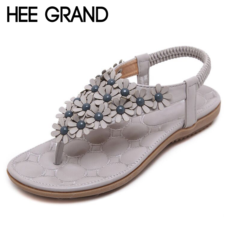 HEE GRAND Summer Gladiator Sandals 2017 New Platform Flip Flops Flowers Flats Casual Slip On Shoes Flat Woman Size 35-41 XWZ3651 hee grand gold silver high heels 2017 summer gladiator sandals sexy platform shoes woman casual shoes size 35 43 xwz4075