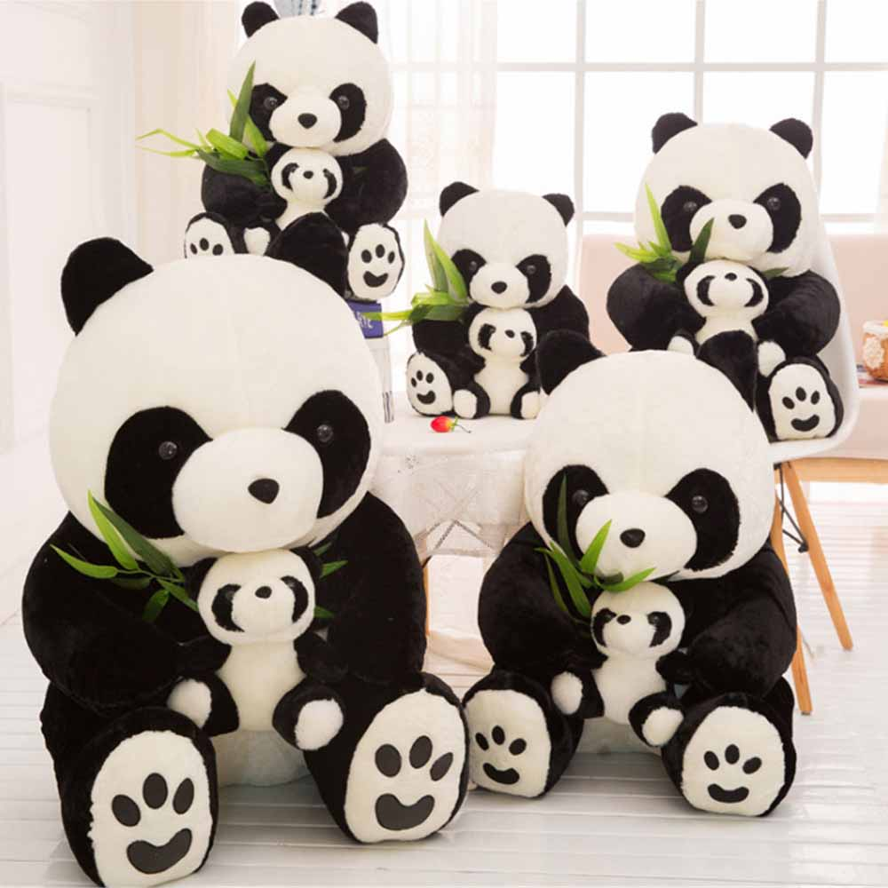 Fancytrader 35'' / 90cm Giant Emulational Animal Panda Toy Stuffed Soft Plush Mom and Kid Panda 2 Sizes lovely giant panda about 70cm plush toy t shirt dress panda doll soft throw pillow christmas birthday gift x023