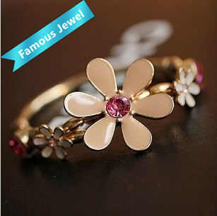 "Fashion ""Drop oil technology""Daisy flower alloy bangle accessories jewelry Free shipping lead-free No nickel No cadmium"