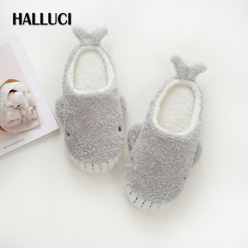 HALLUCI Autumn Cute whale home Slippers for women Winter KEEP Warm House women Plush Shoes slippers Soft Flat shoes slides