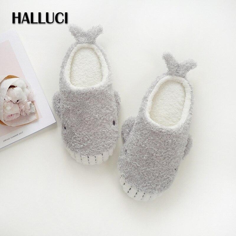 Halluci осень милый КИТ дома Шлёпанцы для женщин зимние теплые домашние женские плюшевые Обувь Шлёпанцы для женщин мягкие туфли на плоской под...