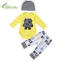 2018 New Baby Romper Pants Hat 3PCS Spring Autumn Newborn Cotton Baby Long Sleeve Underwear Infant