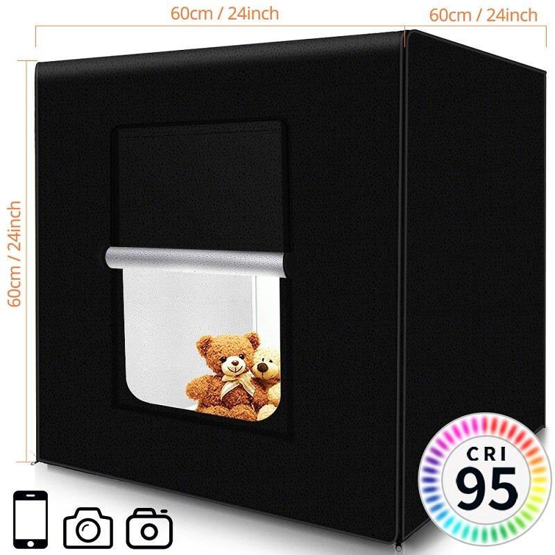 Caja de luz Travor 60*60CM caja de luz portátil Studio Photo LED Lightbox con 3 colores de fondo para fotografía de mesa luces LED - 3