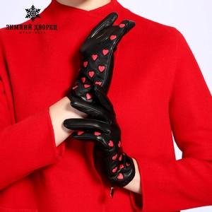 Image 5 - موضة جديدة قفازات جلدية المرأة جلد طبيعي شعبية القلب نمط قفازات جلدية الشتاء قصر القفازات