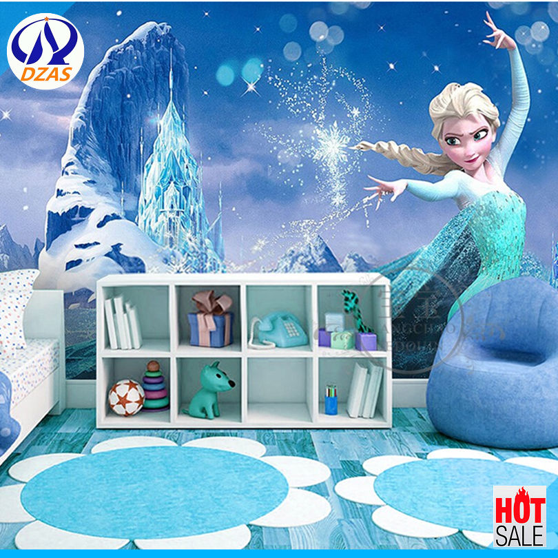 2018 Cartoon Green Mural Wallpaper 3D Snow Girl Children Bedroom Background Wall Paper DZAS-CX Fantasy Mural