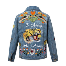 High Quality Denim Jacket Women Jean Jackets Embroidery Tiger Fashion Casual Lady's Patched Denim Jacket Women Outerwear Coat
