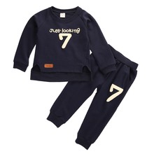 2PCS Autumn Winter Toddler Kids Baby Boys Outfits Number Long Sleeve Shirt Tops +Long Pants Kid Cotton Clothes Set