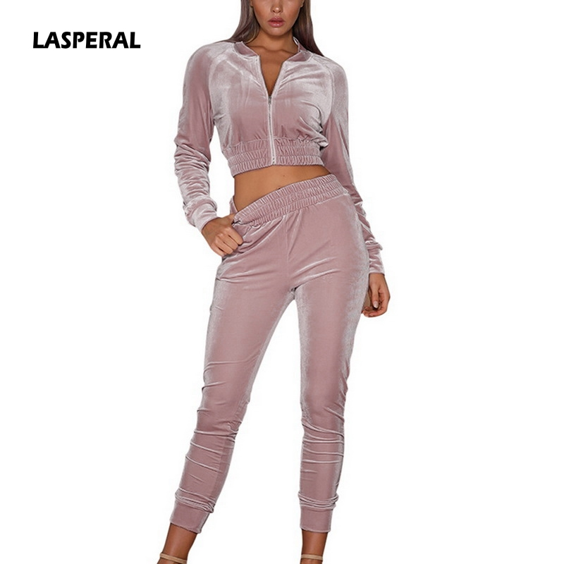 LASPERAL Velvet Tracksuit Sportswear Spring Women-Sets 2pcs Pant Casual-Fitting Stripe title=