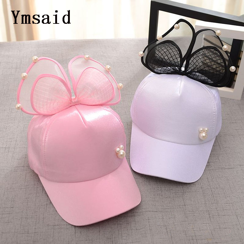Ymsaid Children Hip Hop Baseball Cap Autumn Winter Rabbit Ear Pearl Bow For Boy Girl Women Snapback Casquette Parenting Hat