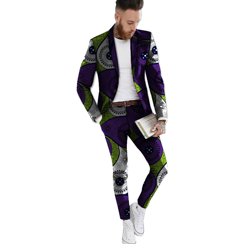 African blazers and trousers set Men's Ankara Suit Jacket fashion wax print dashiki blazer+pant sets African clothing - 6