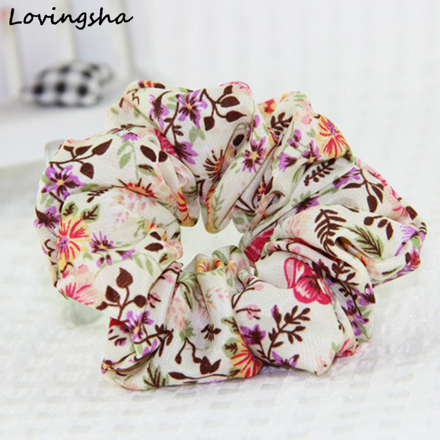 LOVINGSHA Floral Design Women Hair Accessories Brand Lady Hair Tie Scrunchies Girl Ponytail Hair Holder Rope Female FCD002