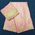 Tela de riche marrón tela africana bordada cuenca riche getzner encaje tela con 2 yardas tul francés encaje floral vestido material