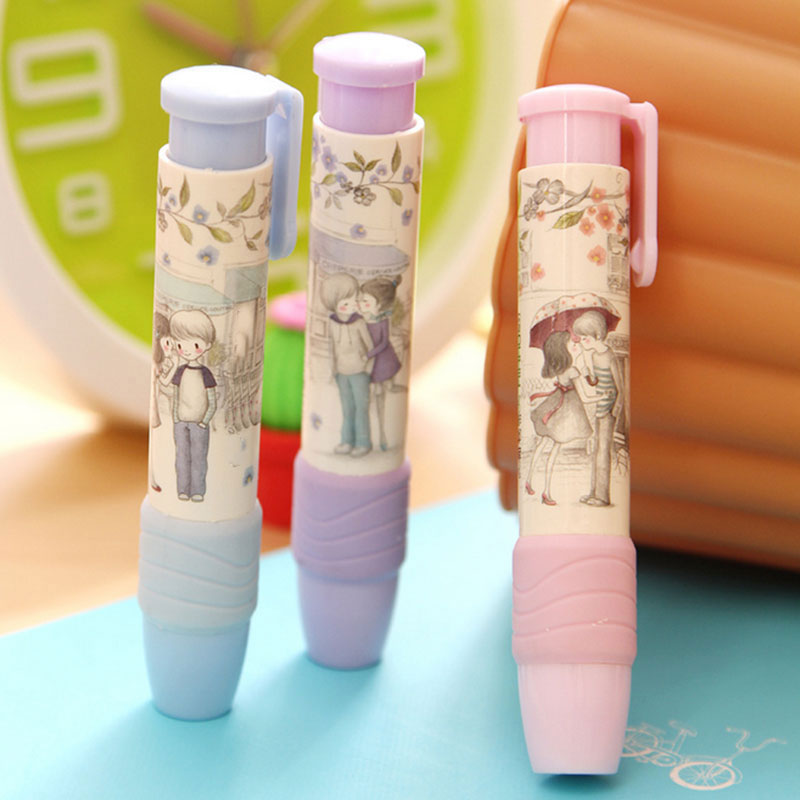 1pcs Cute Pen Shape Eraser Rubber  Stationery Kid Gift Toy Kawaii School Office Supplies Child Prizes 3 Colors Free Shipping