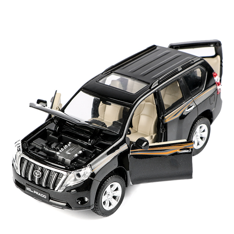 High Quality 1:32 Toyota Prado Alloy Model,simulation Children's Sound And Light Pull Back Off-road Model Toys,free Shipping