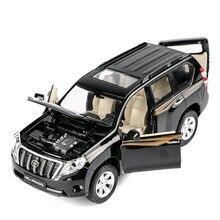 Yüksek kalite 1:32 Toyota Prado alaşım modeli, simülasyon çocuk ses ve işık geri çekin off road modeli oyuncaklar, ücretsiz kargo