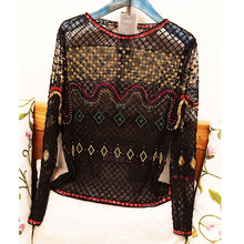 Beading Tops Luxury 2017 Summer Fashion Long Sleeve High Quality Colorful Sequined White / Black Sexy Blouses Women