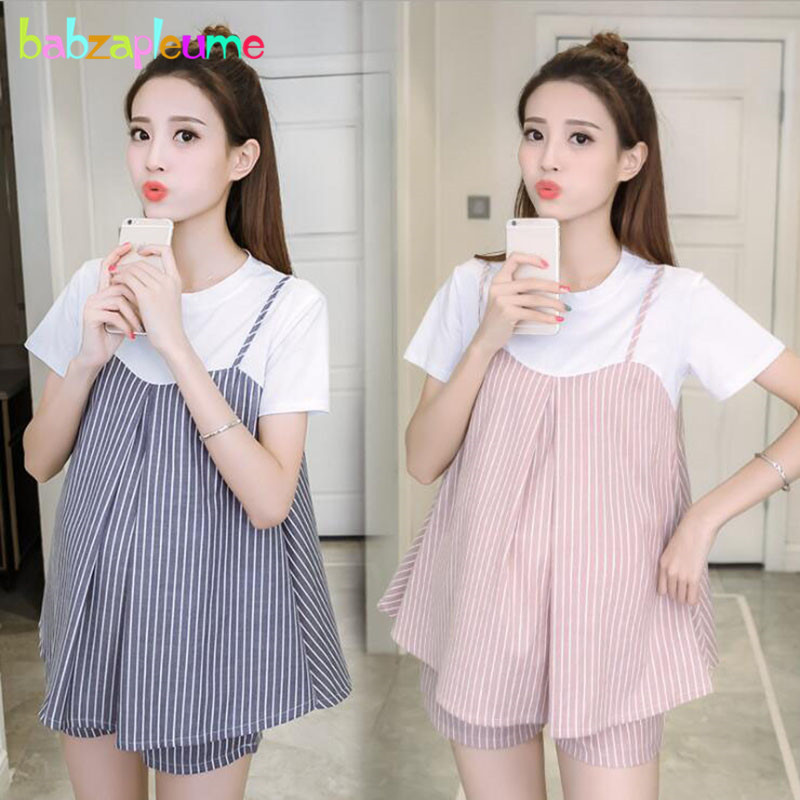 2PCS/Summer Wear Pregnant Clothes Sets Fashion Stripe T-shirt+Shorts Loose Big Size Pregnancy Clothing Maternity Outfit BC1429-12PCS/Summer Wear Pregnant Clothes Sets Fashion Stripe T-shirt+Shorts Loose Big Size Pregnancy Clothing Maternity Outfit BC1429-1