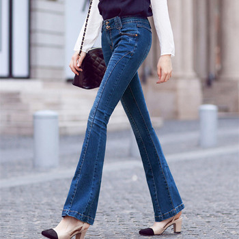 Free Shipping 2019 New Fashion Long Jeans Pants For Women Flare Trousers Plus Size 24-31 Size Denim Summer Stretch Skynni Jeans цена 2017
