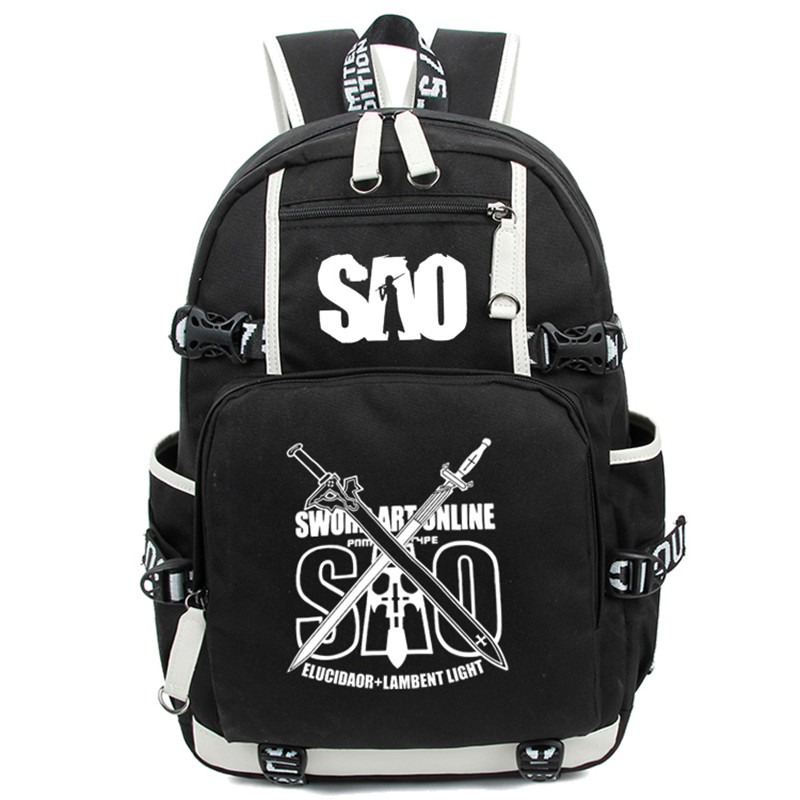 Sword Art Online SAO Luminous Backpack Cartoon Noctilucent School Travel Bag for Teenagers Nylon Mochila Escolar Rucksack dropship harajuku anime sword art online sao canvas galaxy luminous printing backpack school bags for teenagers mochila feminina