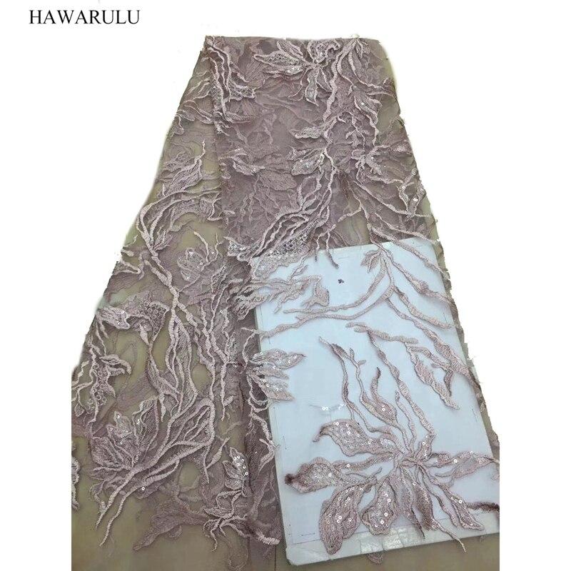 1 шт. 5 ярдов 125 см DIY 3D кружевная ткань из бисера вышитая ткань Африканская кружевная компьютерная свадебная одежда мода сценическая подтяжк