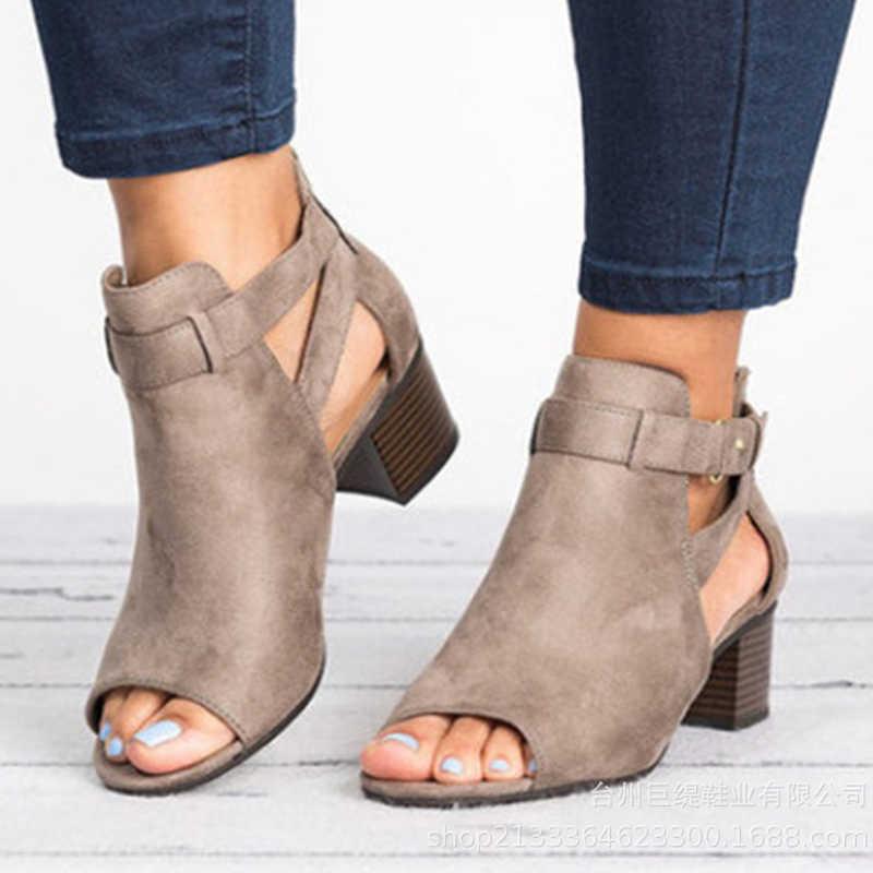 2019 ฤดูร้อนข้อเท้ารองเท้าแตะรองเท้าแตะรองเท้าส้นสูงหัวเข็มขัดสายคล้องรองเท้าแฟชั่นผู้หญิงปั๊ม Peep Toe รองเท้าผู้หญิง Plus ขนาด XWZ5691