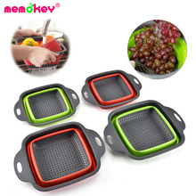 Foldable Fruit Vegetable Washing Basket Strainer Portable Silicone Colander Collapsible Drainer With Handle Kitchen Tools F