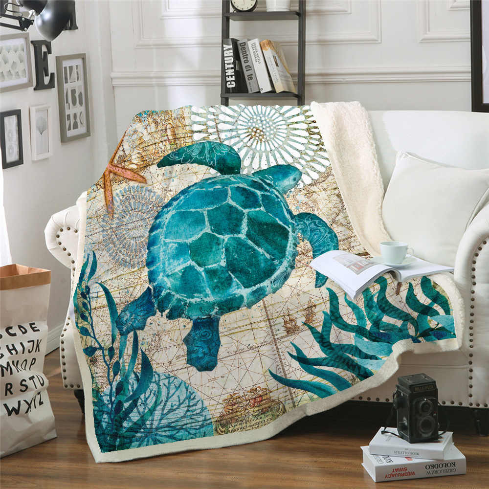 3D Marine Organism Turtle Back To School Sofa Flannel Blanket Scotland Pattern Custom Fleece Throw Bedspread Blanket Microfiber