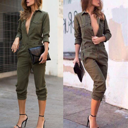 Womens Fashion Spring Newest Army Green One-piece Shirts + Pants Overalls Jumpsuits Long Sleeve Casual Pockets S/M/L/XL Q5385