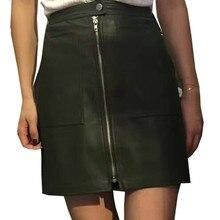 Bazaleas Осень Vintage Double Pocket Опрятный Короткая Юбка line Кнопка Молнии Тонкий Мини-Юбки Мода Замши Кожаные Шорты Юбки