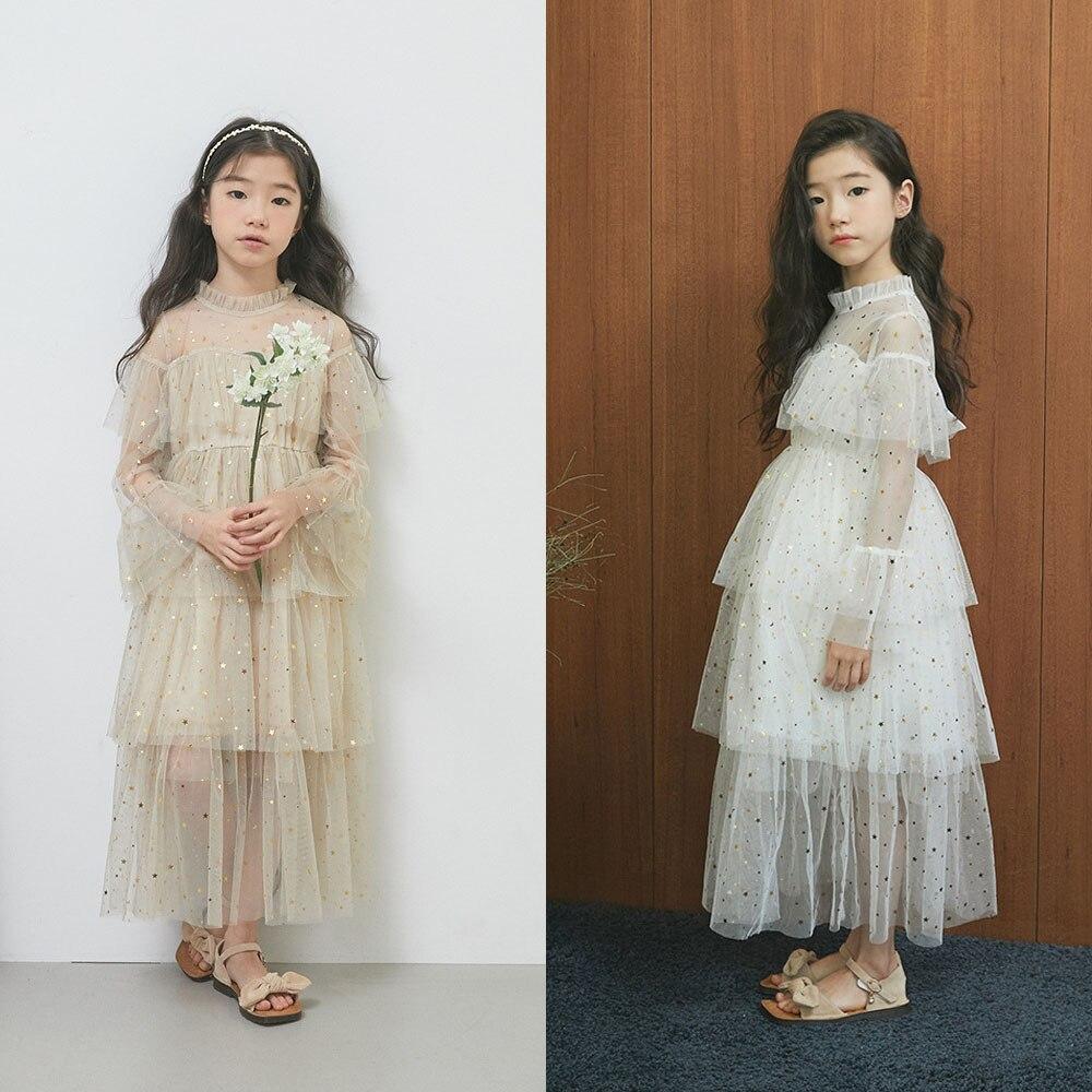 Filles robes princesse fête robes étoile dentelle maille broderie robe pour adolescents fille été enfants vêtements 4 6 8 10 11 12 14Y