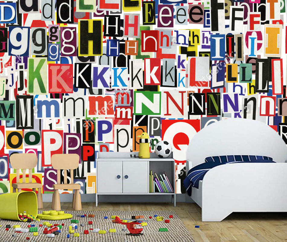 3D abstract art wallpaper, newspaper letters clippings,retro mural for living room bedroom sofa background papel de parede vinyl custom children wallpaper multicolored crayons 3d cartoon mural for living room bedroom hotel backdrop vinyl papel de parede