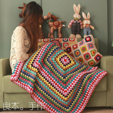 DIY handmade cushion scappa scarf carpet Hand hooked fashion crochet blanket cushion felt pastoral style gift